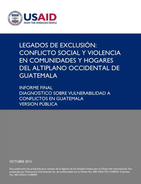 Portada: Informe final diagnóstico sobre vulnerbilidad a conflictos en Guatemala