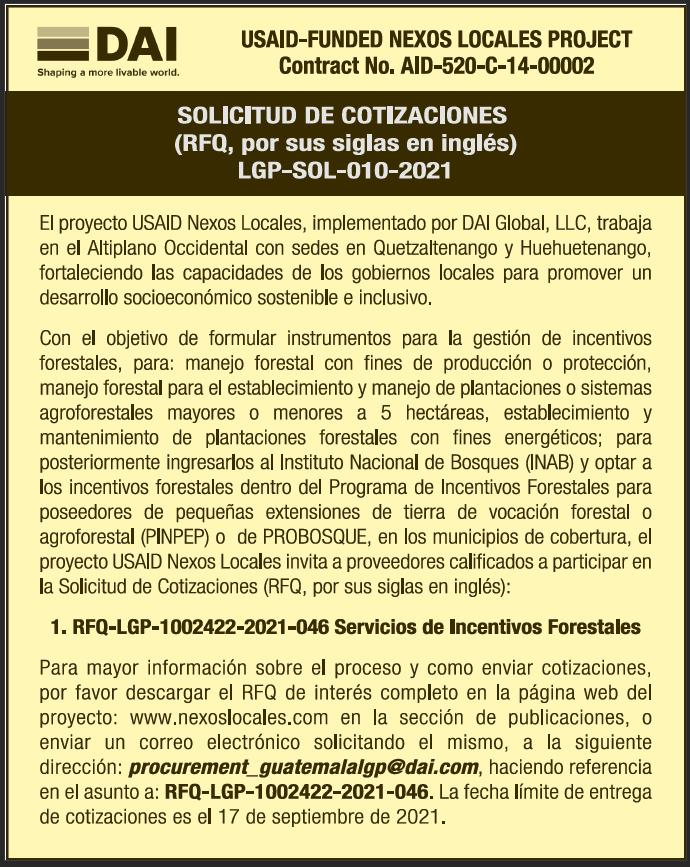 Portada RFQ Incentivos Forestales